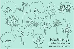 Outline Trees Clipart