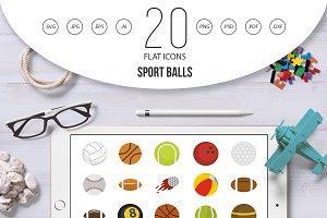 Sport balls icon set, flat style