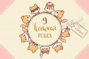 Kawaii Foxes Icons Set