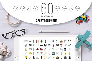 Sport equipment icon set, flat style