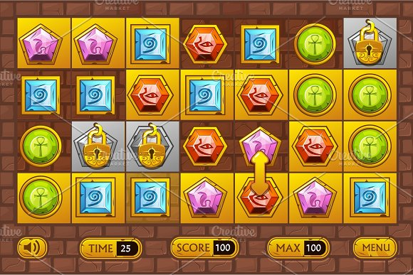 Egyptian style interface Match3 Games. Egypts precious multi-colored stones, game assets icons and gold buttons in Objects