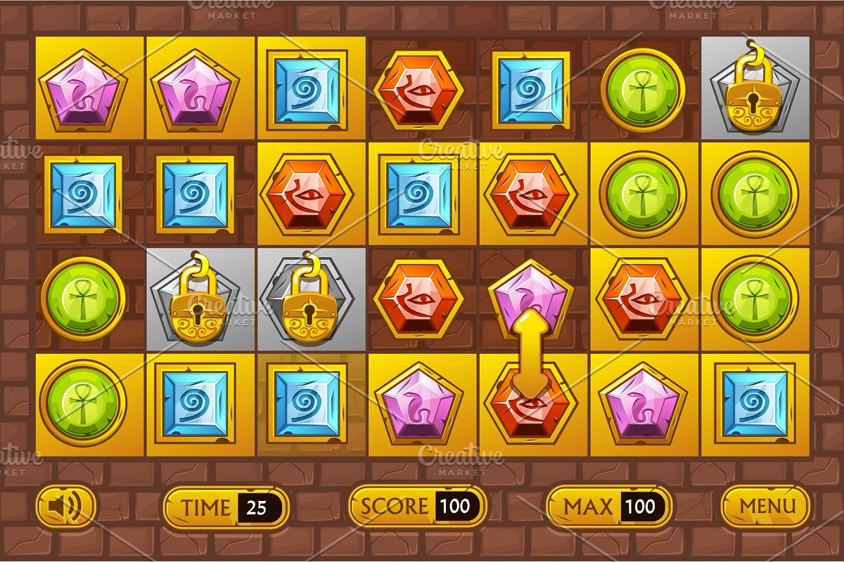 Egyptian style interface Match3 Games. Egypts precious multi-colored stones, game assets icons and gold buttons in Objects - product preview 8