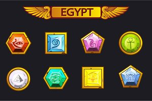 Egypt precious and multi-colored stones, game assets icons