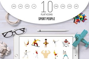 Sport people icon set, flat style