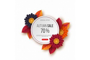 Autumn sale round banner with 3d leaves, flowers and dotted pattern. White background - template for seasonal discounts, vector illustration.