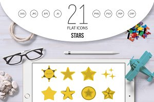 Stars icon set, flat style