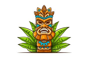 Tiki traditional hawaiian tribal mask
