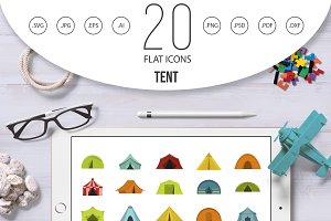 Tent icon set, flat style