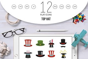 Top hat icon set, flat style