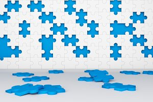 Missing jigsaw puzzle pieces in unfinished work concept. Blue and white pattern texture background. 3d illustration