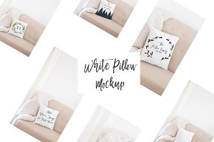 Rustic White Pillow Mockup