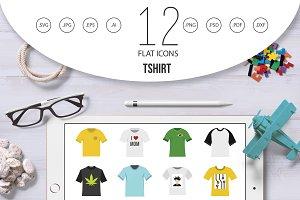 Tshirt icon set, flat style
