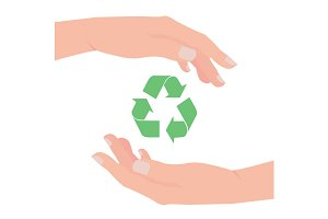 Green arrows recycle eco symbol