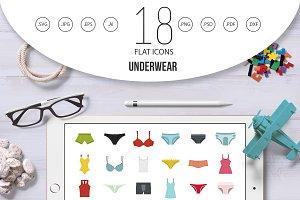 Underwear icon set, flat style