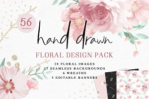 Hand Drawn Floral Graphics Pack