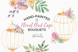 Floral Bird Cage Watercolor Clipart
