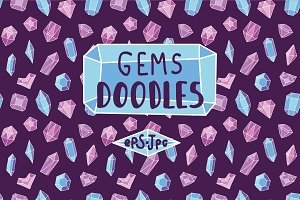 Hand drawn doodle bundle with gems