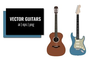 Acoustic and Electric Guitar Vectors
