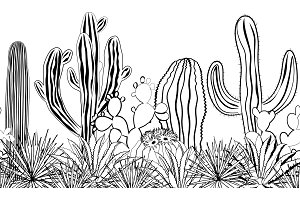 Sketch cacti seamless pattern. Black and white