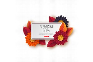 Autumn sale rectangular banner with 3d leaves, flowers and dotted pattern. White background - template for seasonal discounts, vector illustration.