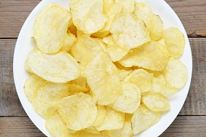 Potato chips in bowl close-up