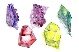 Colorful crystals PNG watercolor set