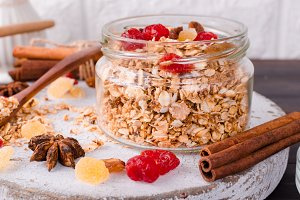 Breakfast Granola in glass jar