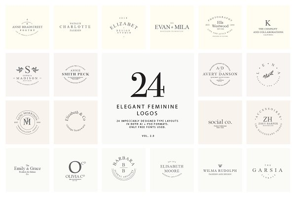 24 elegant feminine logos vol. 2.0