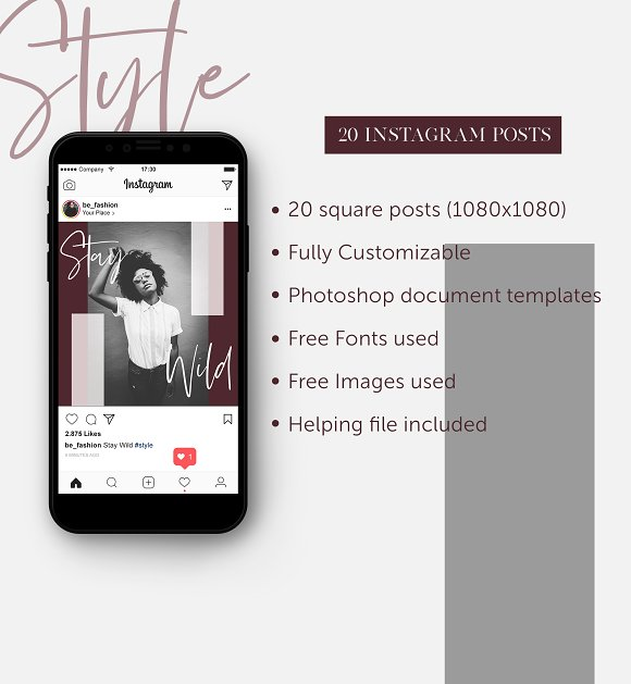Stylish Social Media Pack  in Instagram Templates - product preview 3