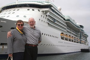 Retired Senior Couple by Cruise Ship