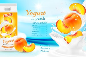 Yogurt flowing into a cup with peach