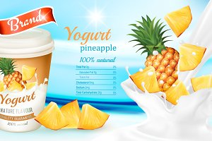 White yogurt with fresh pineapple.