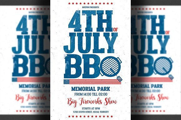 4th of july bbq flyer template flyer templates creative market