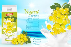 White yogurt with fresh grapes