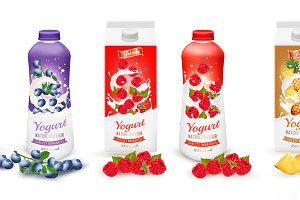 Set of yogurt in bottles  and boxes