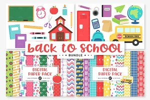School Clipart/Digital Papers Bundle
