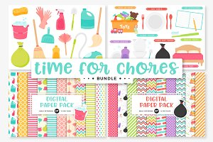 Chores Clipart/Digital Papers Bundle