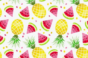 Summer fruits. Pineapple, Watermelon