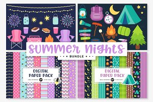 Summer Clipart/Digital Papers Bundle