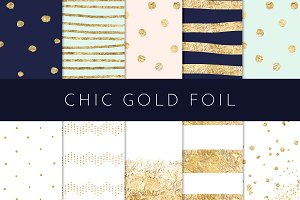 Chic Gold Foil-Navy Blush Mint Gold