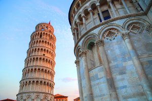 Scenic view of leaning tower of Pisa