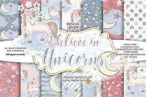 I believe in Unicorns digital papers