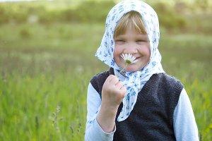 Portrait of a village little girl