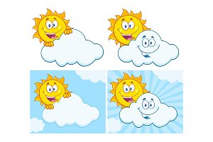 Sun Cartoon Character. Collection 18