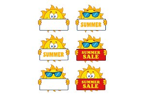 Sun Cartoon Character. Collection 20