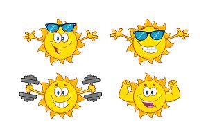 Sun Cartoon Character. Collection 21