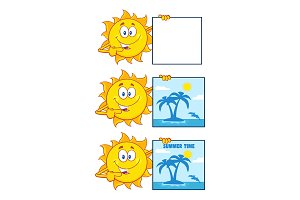 Sun Cartoon Character. Collection 22