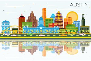 Austin Texas Skyline with Color