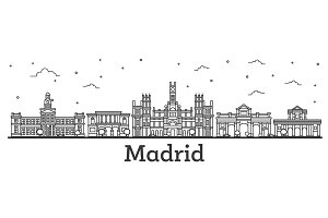 Outline Madrid Spain City Skyline