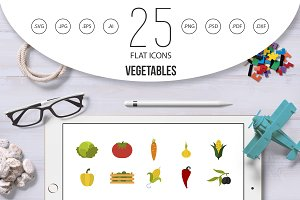 Vegetables icon set, flat style